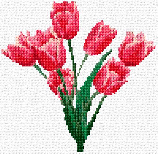 Tulips cross stitch image