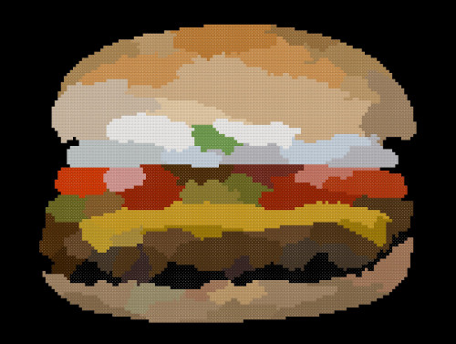 hamburger cross stitch image black
