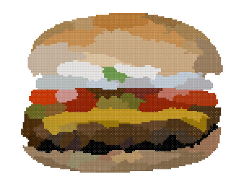 hamburger cross stitch image white