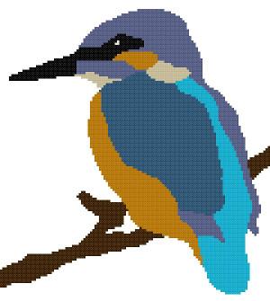 kingfisher bird cross stitch image
