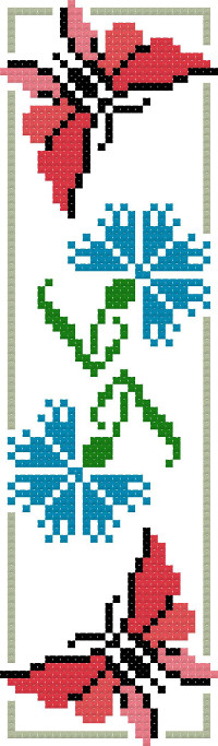 bookmark 7 flower and butterfly cross stitch image