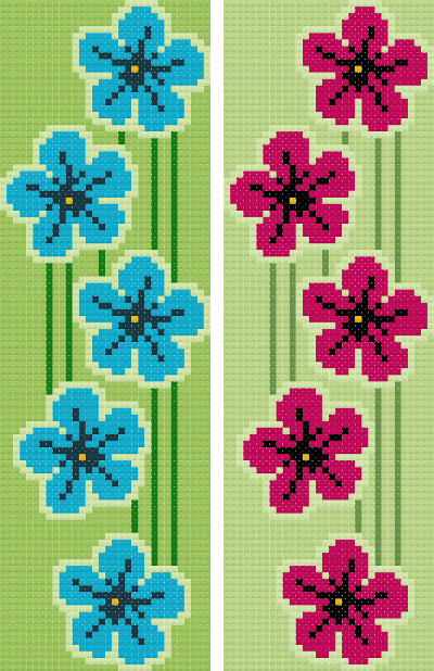 bookmark 9 flowers cross stitch image
