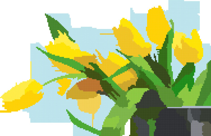 yellow tulips cross stitch image
