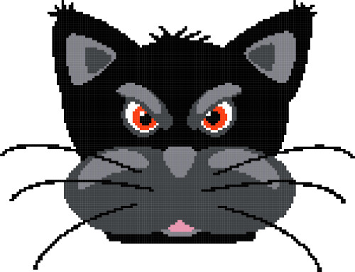 angry cat cross stitch image