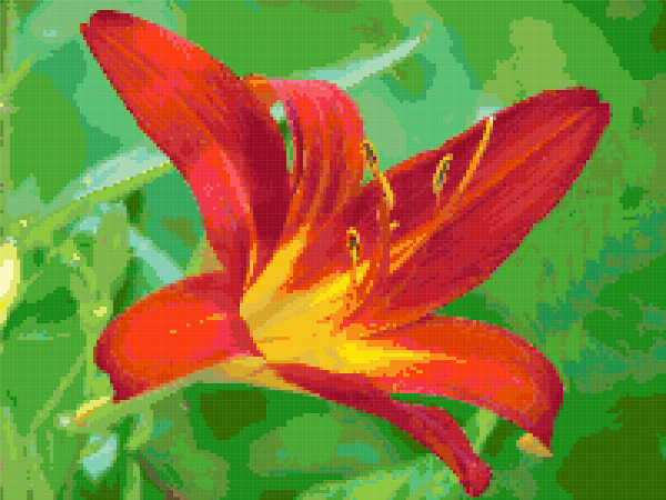 red lily cross stitch image