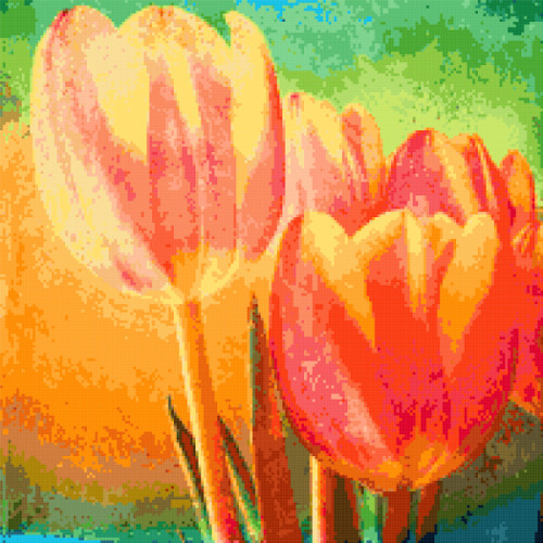 tulips painting cross stitch image