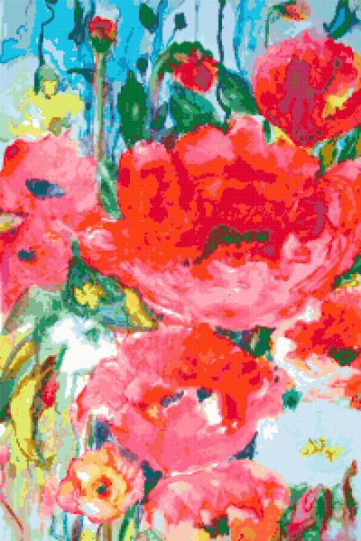 flowers painting cross stitch image