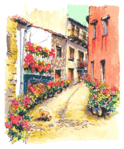 street painting cross stitch image