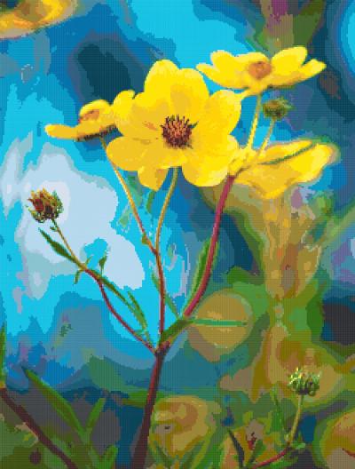 yellow flowers cross stitch image