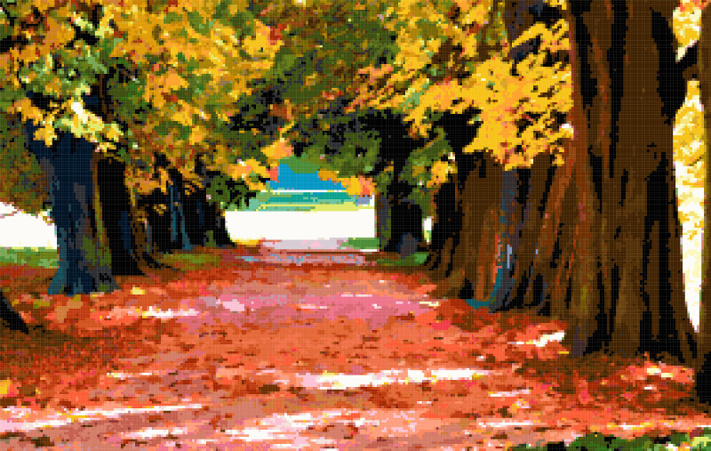 autumn park cross stitch image