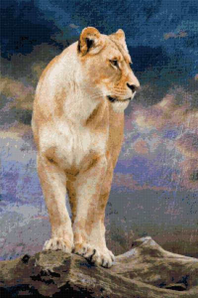 big cat cross stitch image