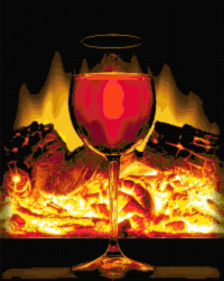 fire wine cross stitch image