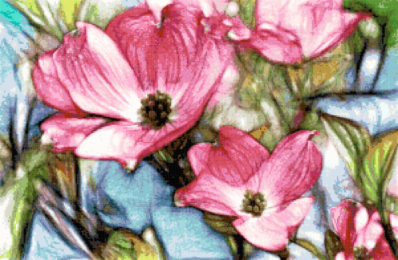 pink dogwood cross stitch image