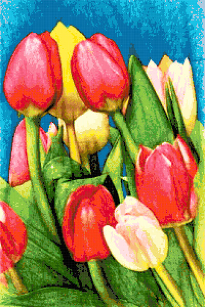 spring tulips cross stitch image