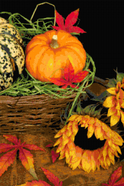 autumn basket cross stitch image