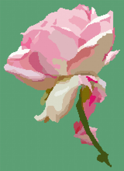 pink rose cross stitch image