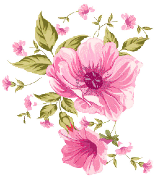 pink flowers cross stitch image