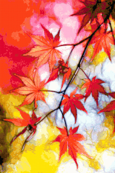 autumn leaves cross stitch image