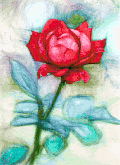 beautiful red rose cross stitch image
