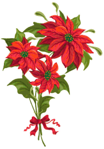 christmas flowers cross stitch image