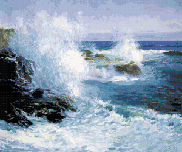 the sea view of cliffs cross stitch image