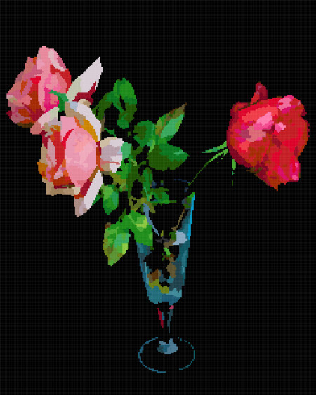 three roses cross stitch image