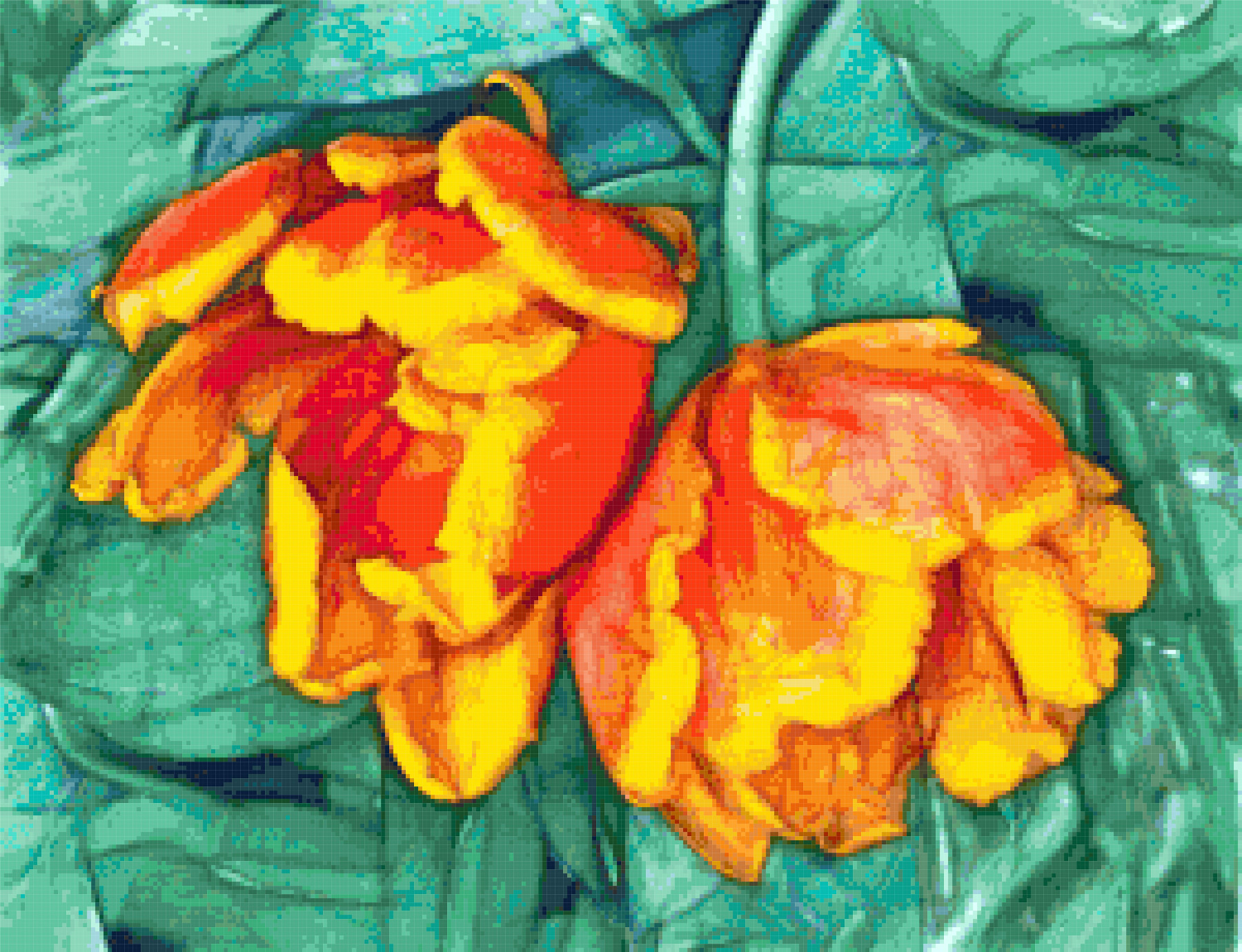fantasy tulips cross stitch image