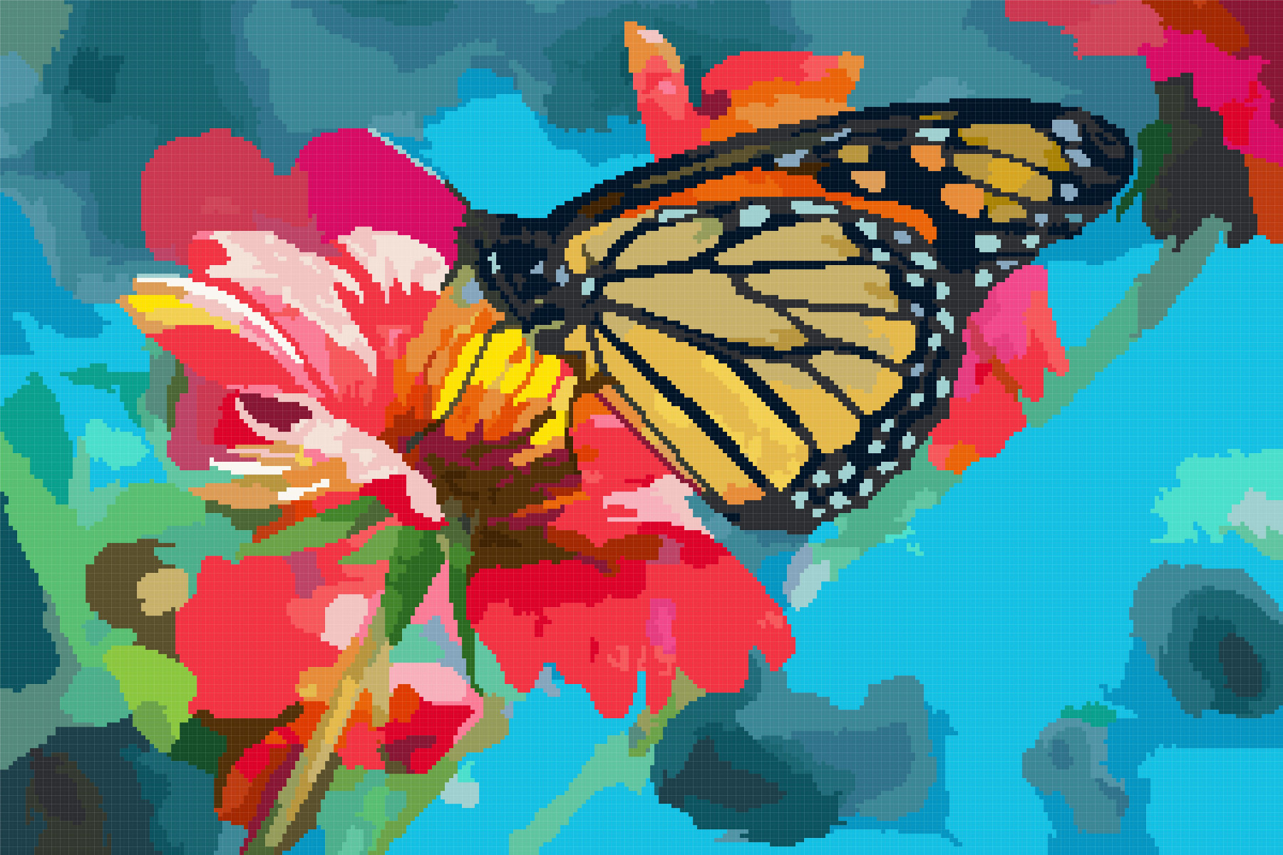flower and butterfly cross stitch image