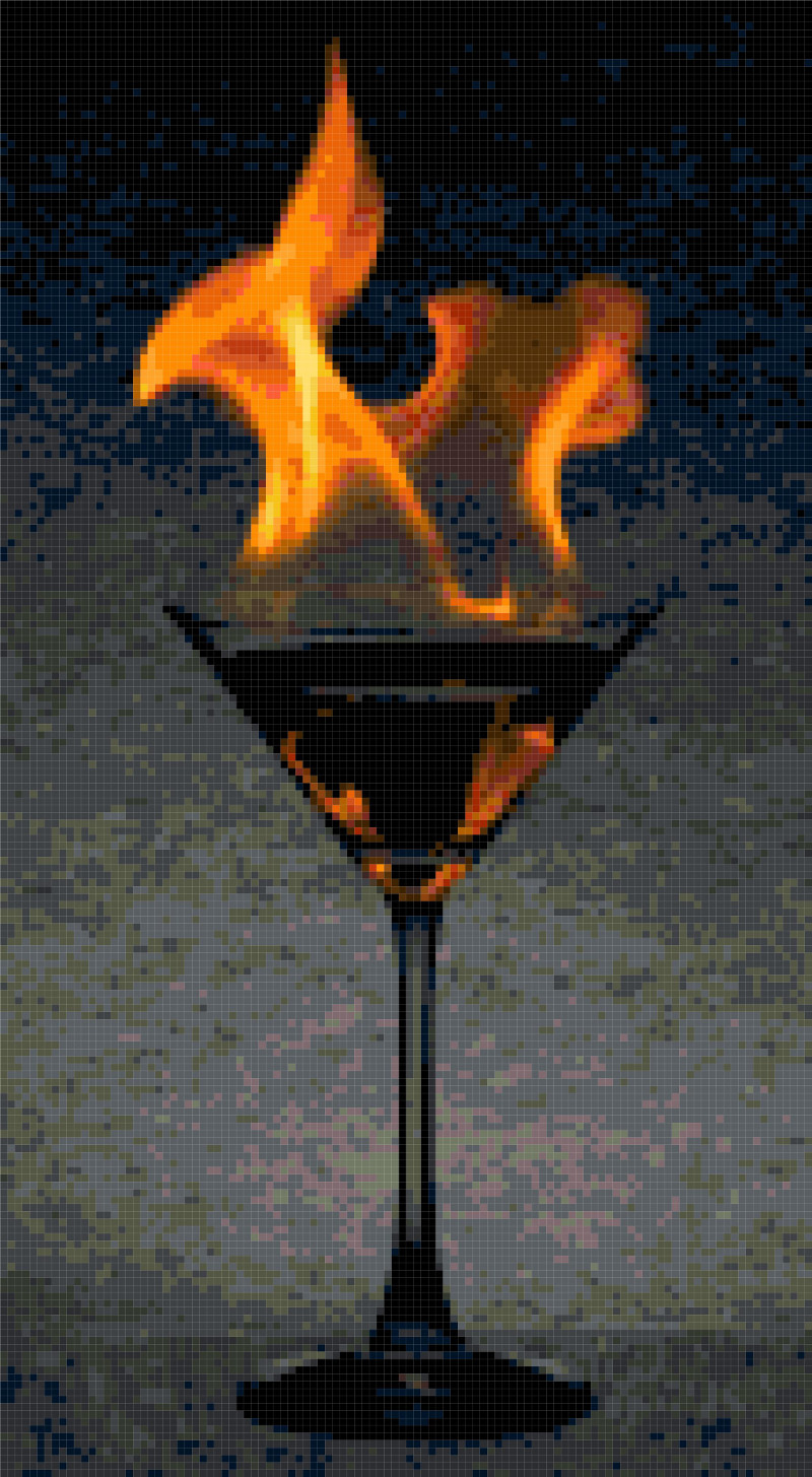 martini glass cross stitch image