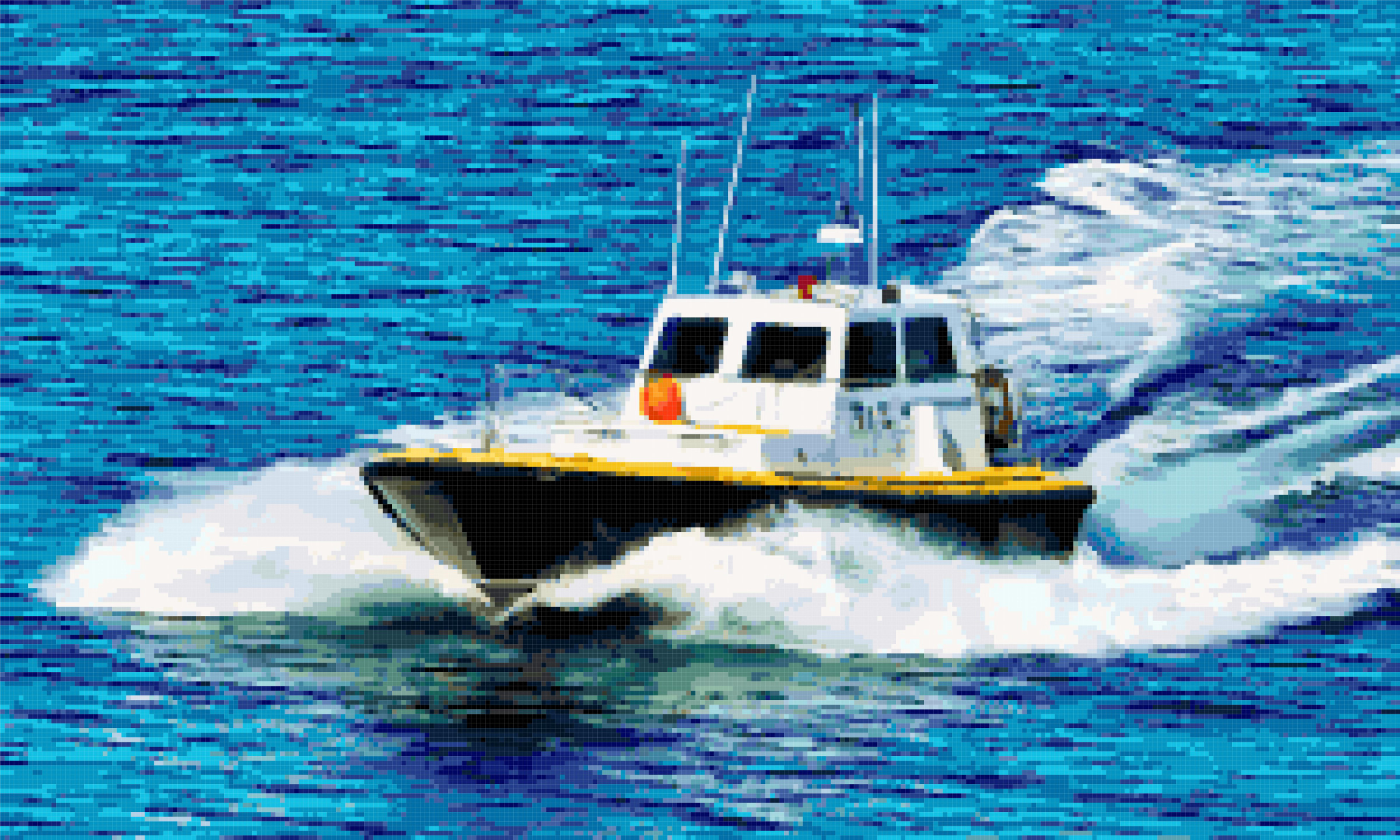 powerboat cross stitch image