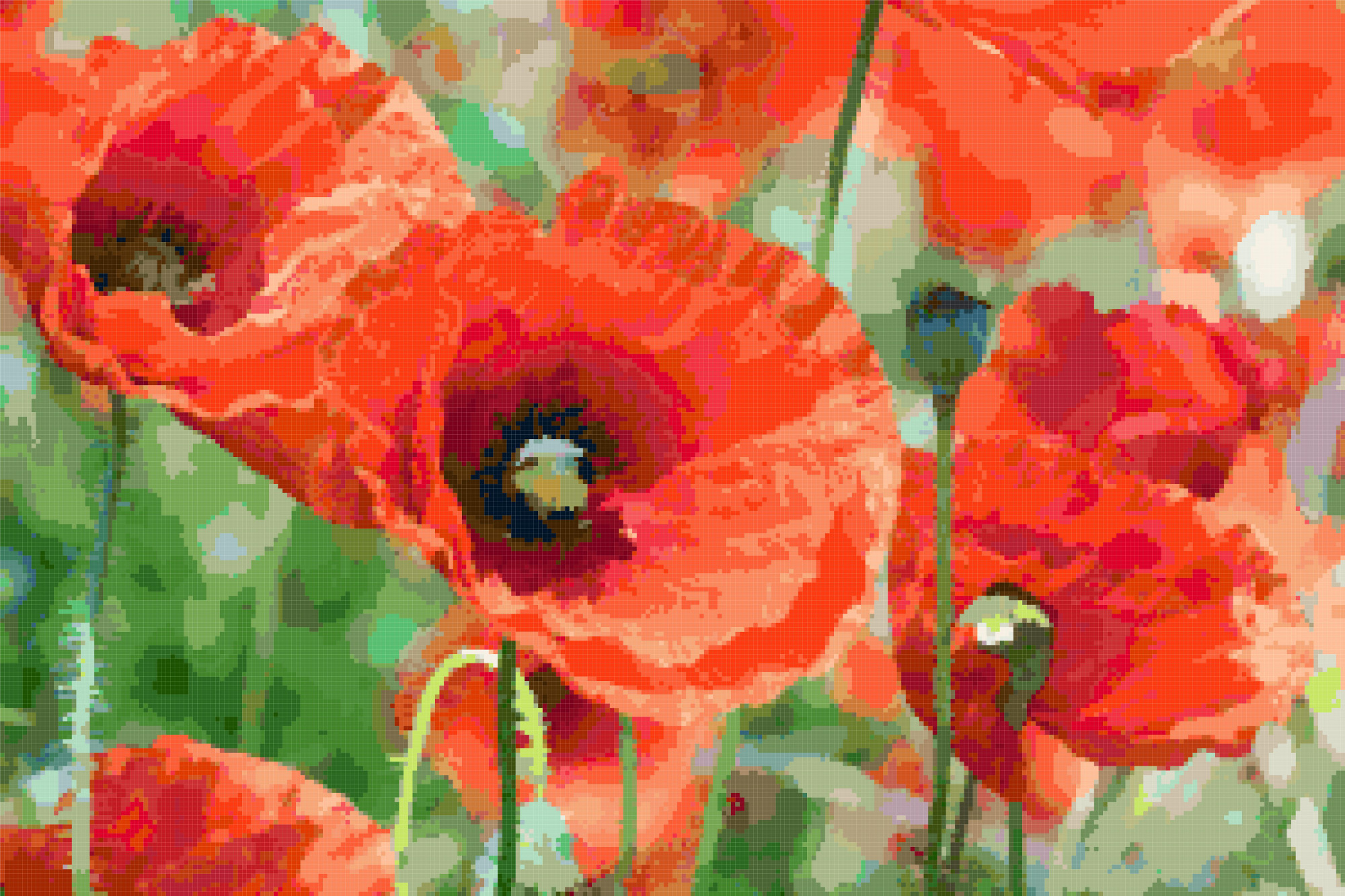 field of poppies cross stitch image