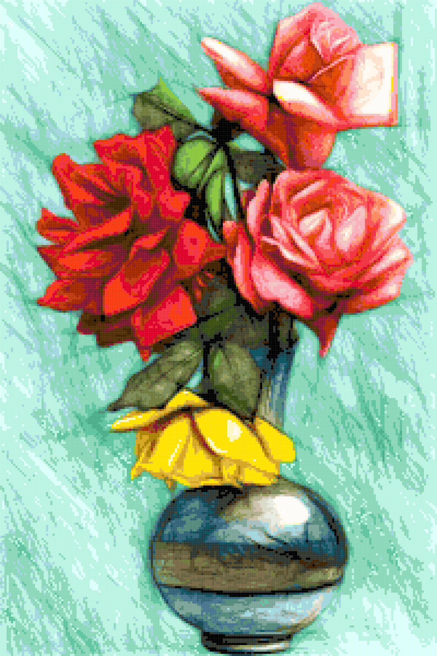 roses in a round vase cross stitch image