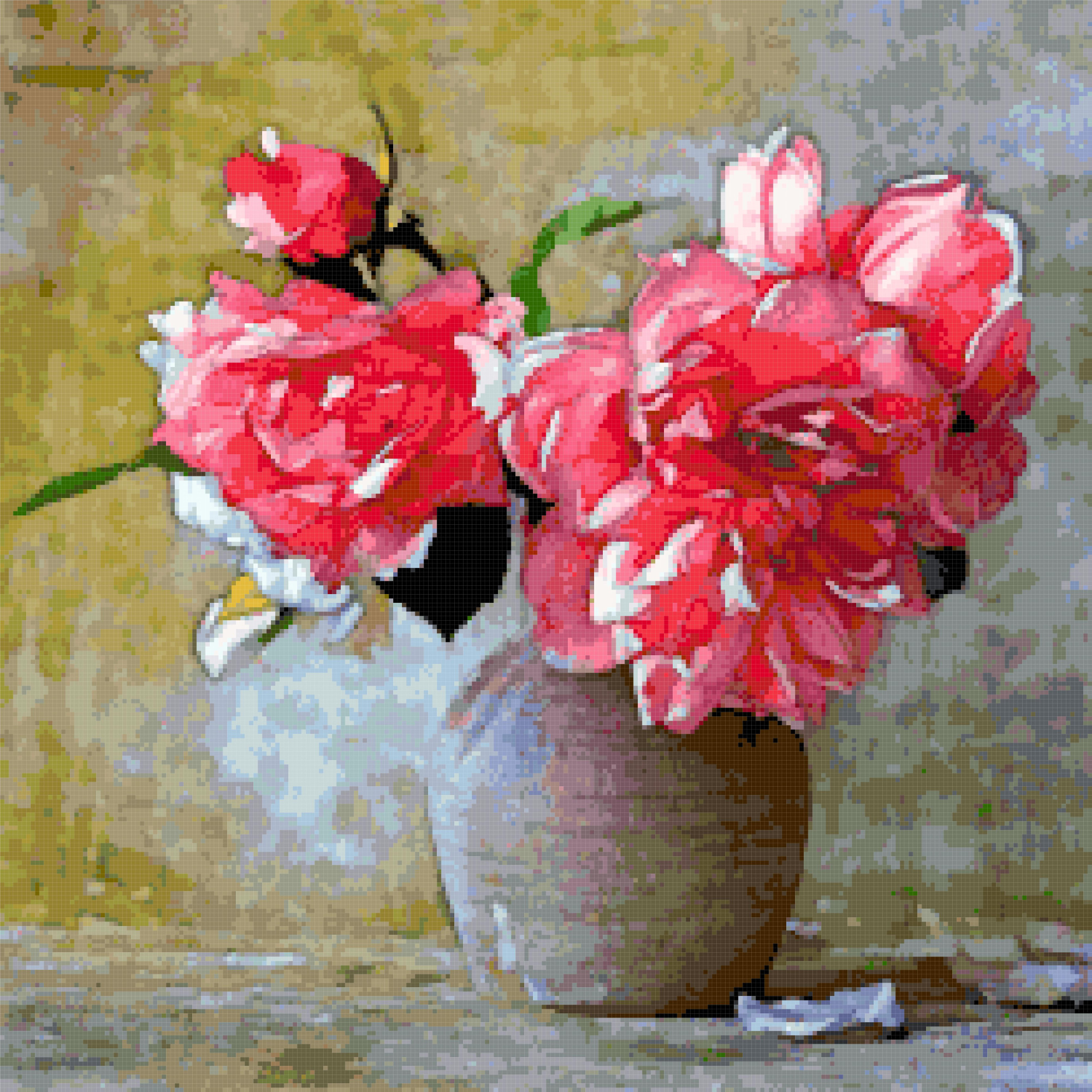flowers vase painting cross stitch image