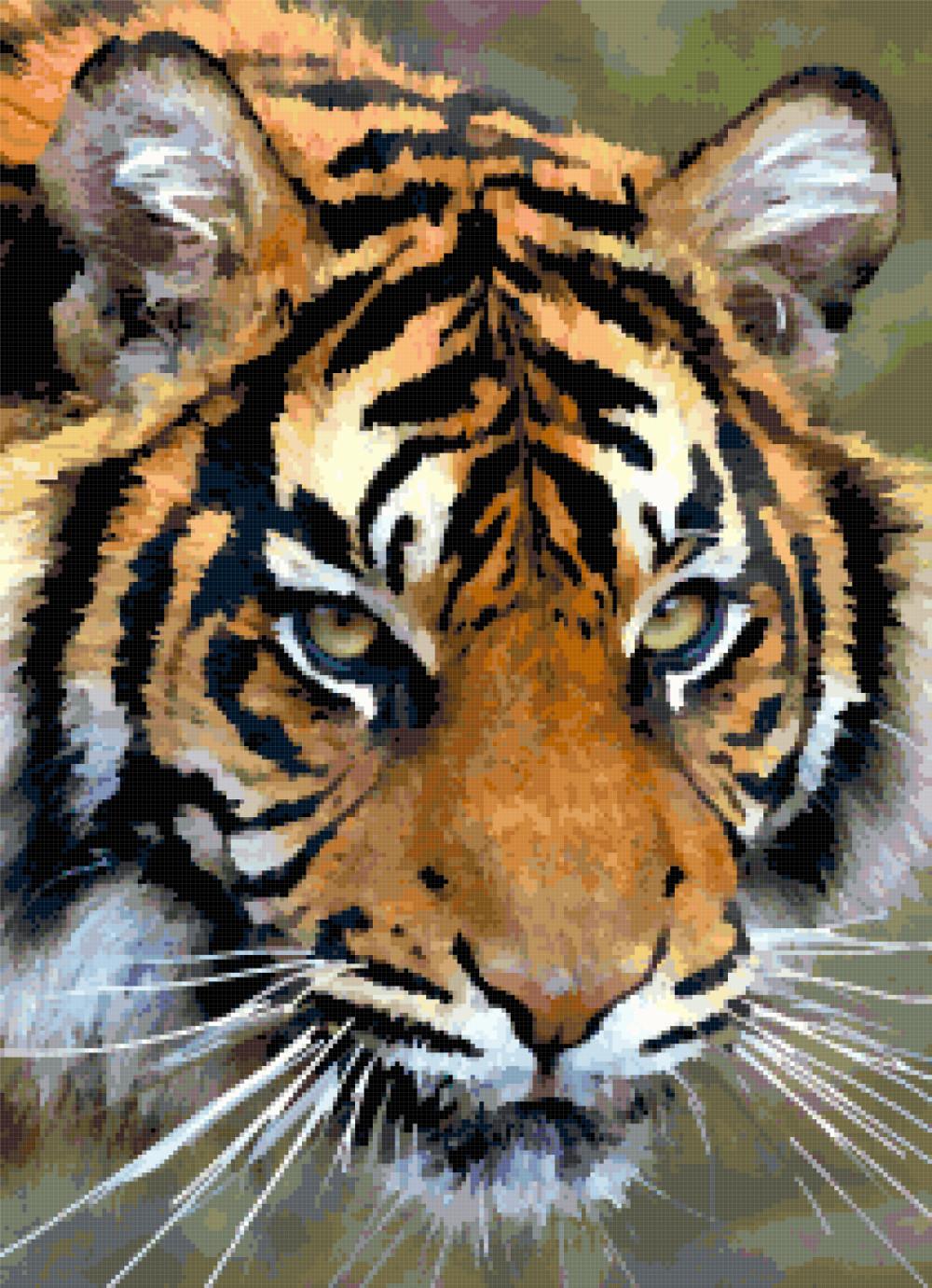 tiger look cross stitch image