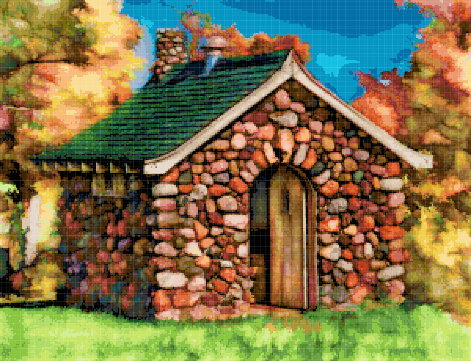stone hut cross stitch image