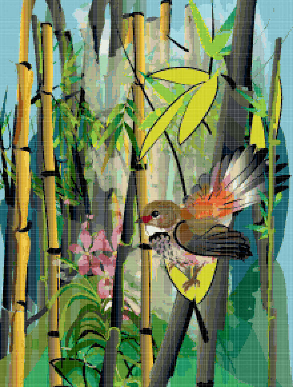 bird and bamboo painting cross stitch image