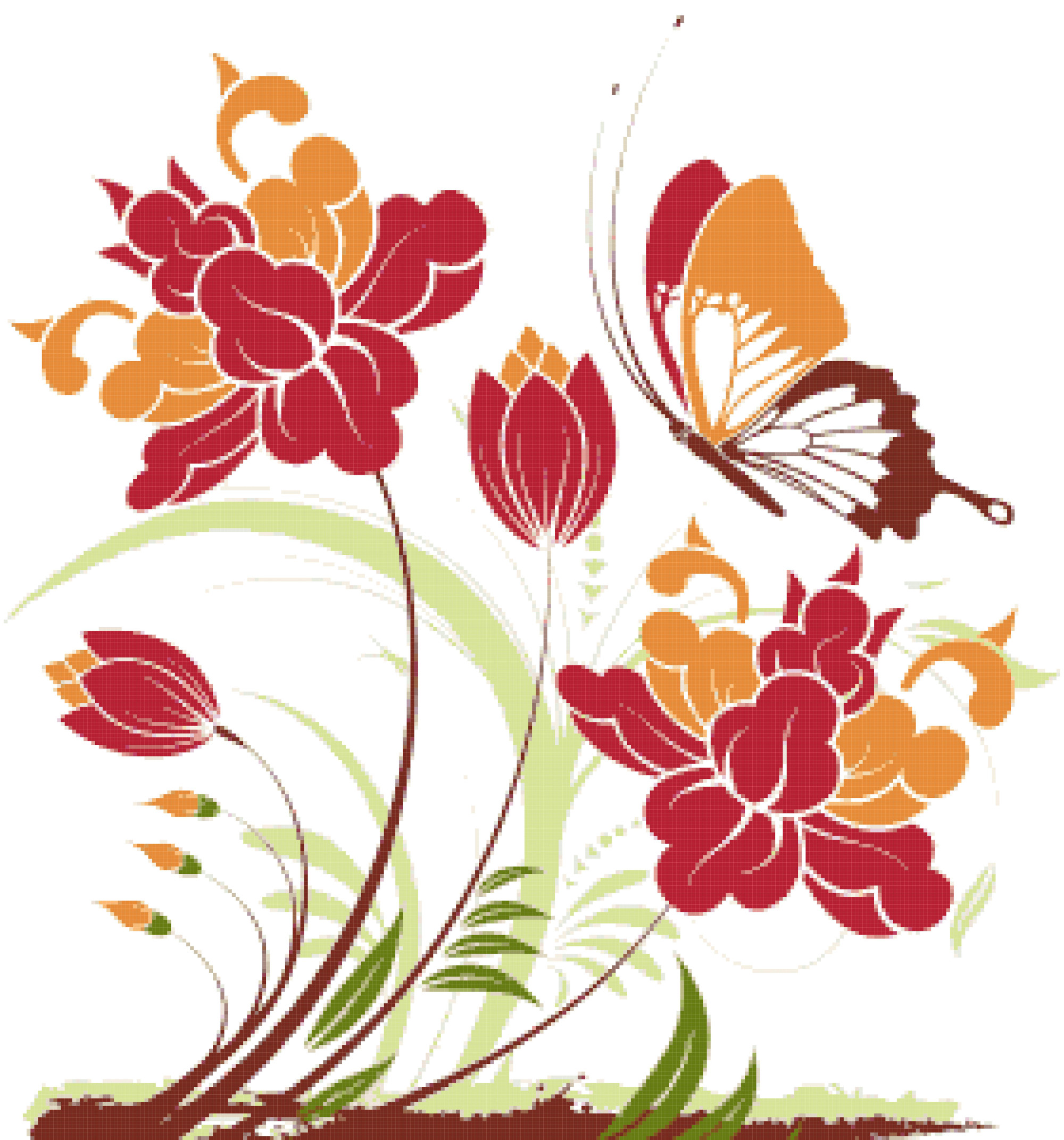 abstract flowers cross stitch image