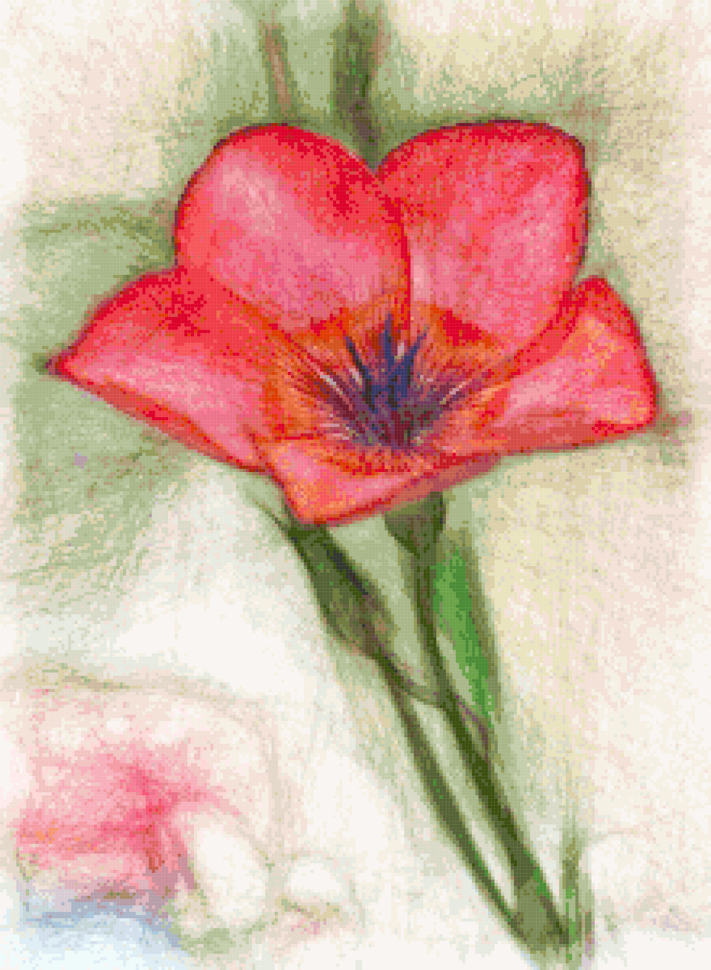 red wildflower cross stitch image